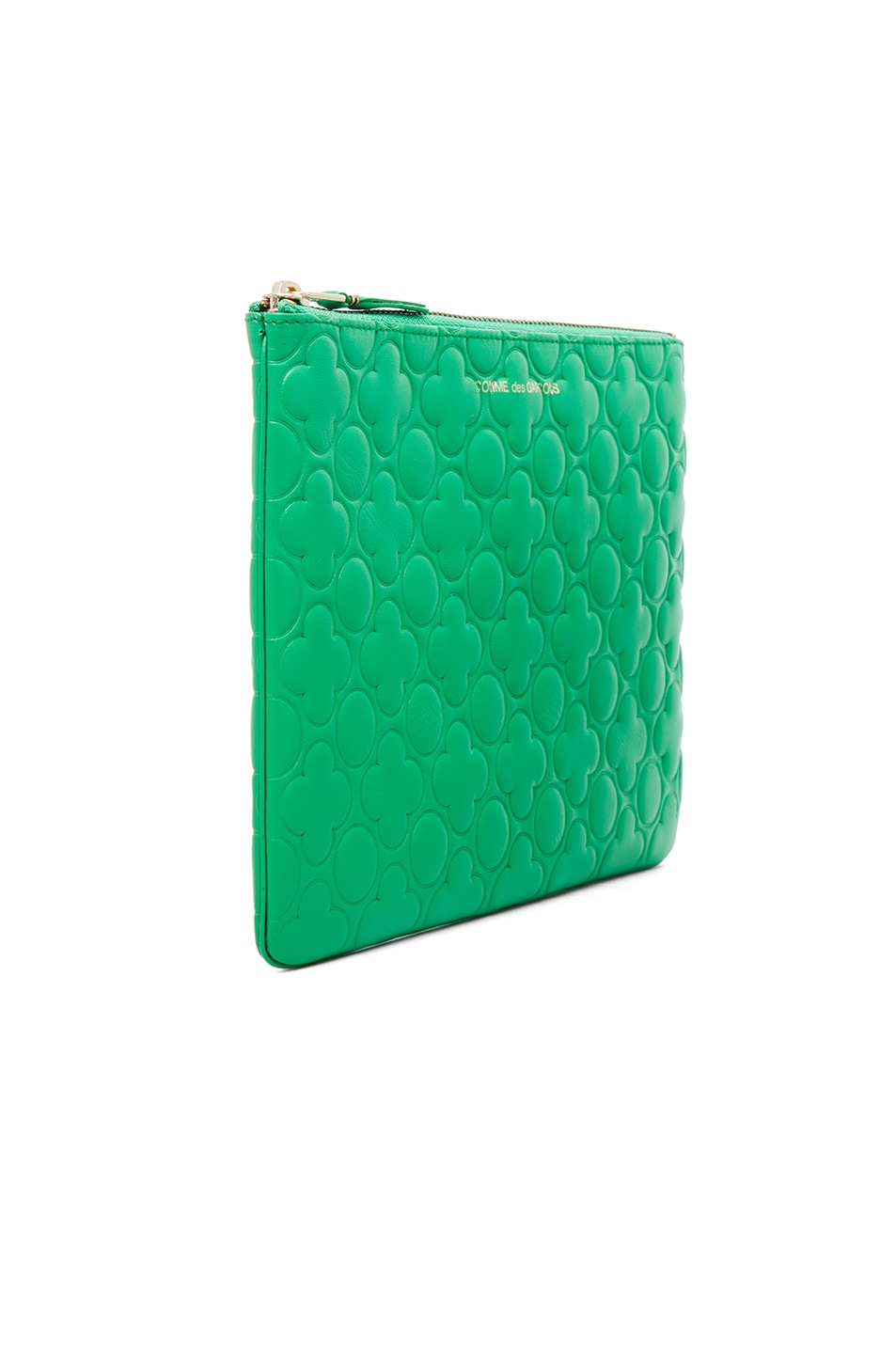 Image 3 of Comme Des Garcons Clover Embossed Pouch in Green
