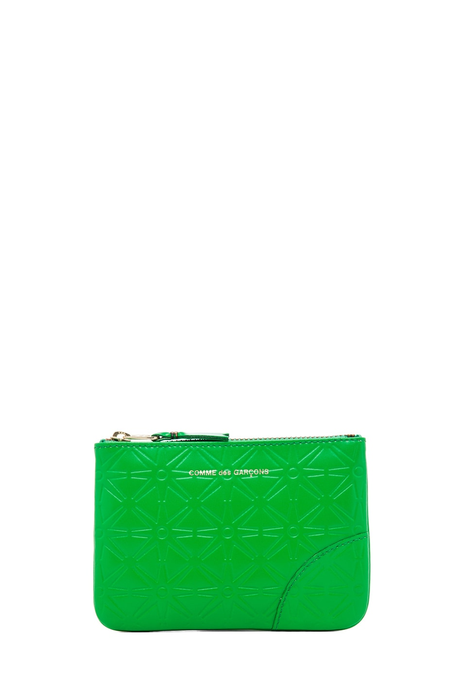 Image 1 of Comme Des Garcons Star Embossed Small Pouch in Green