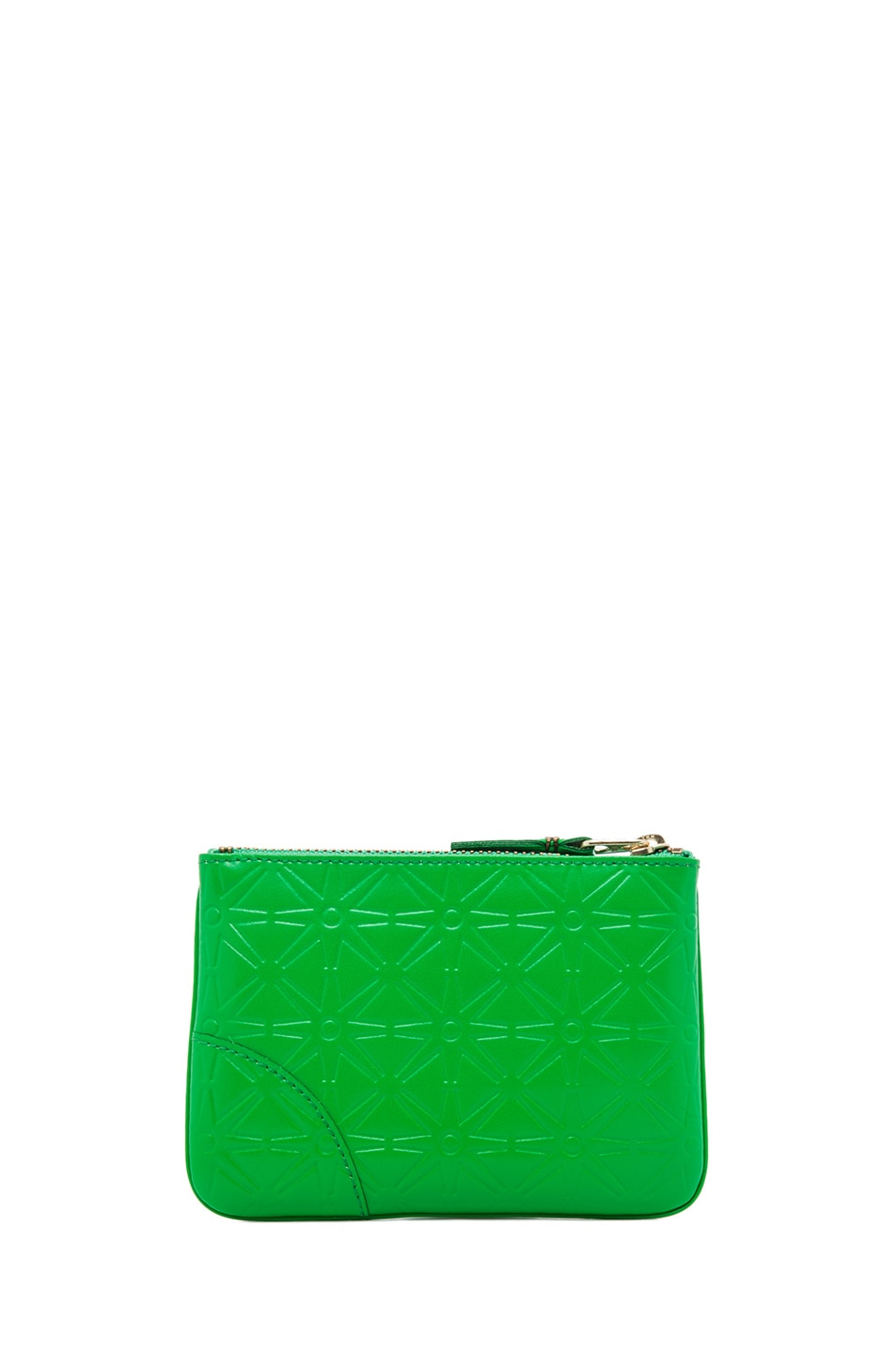Image 2 of Comme Des Garcons Star Embossed Small Pouch in Green