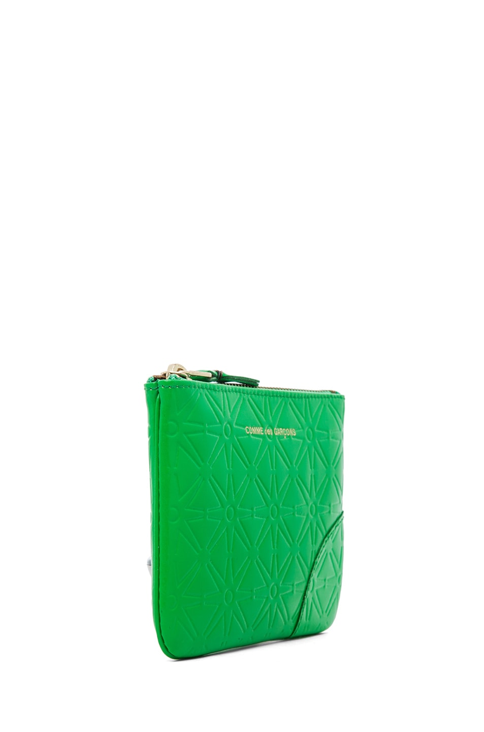 Image 3 of Comme Des Garcons Star Embossed Small Pouch in Green
