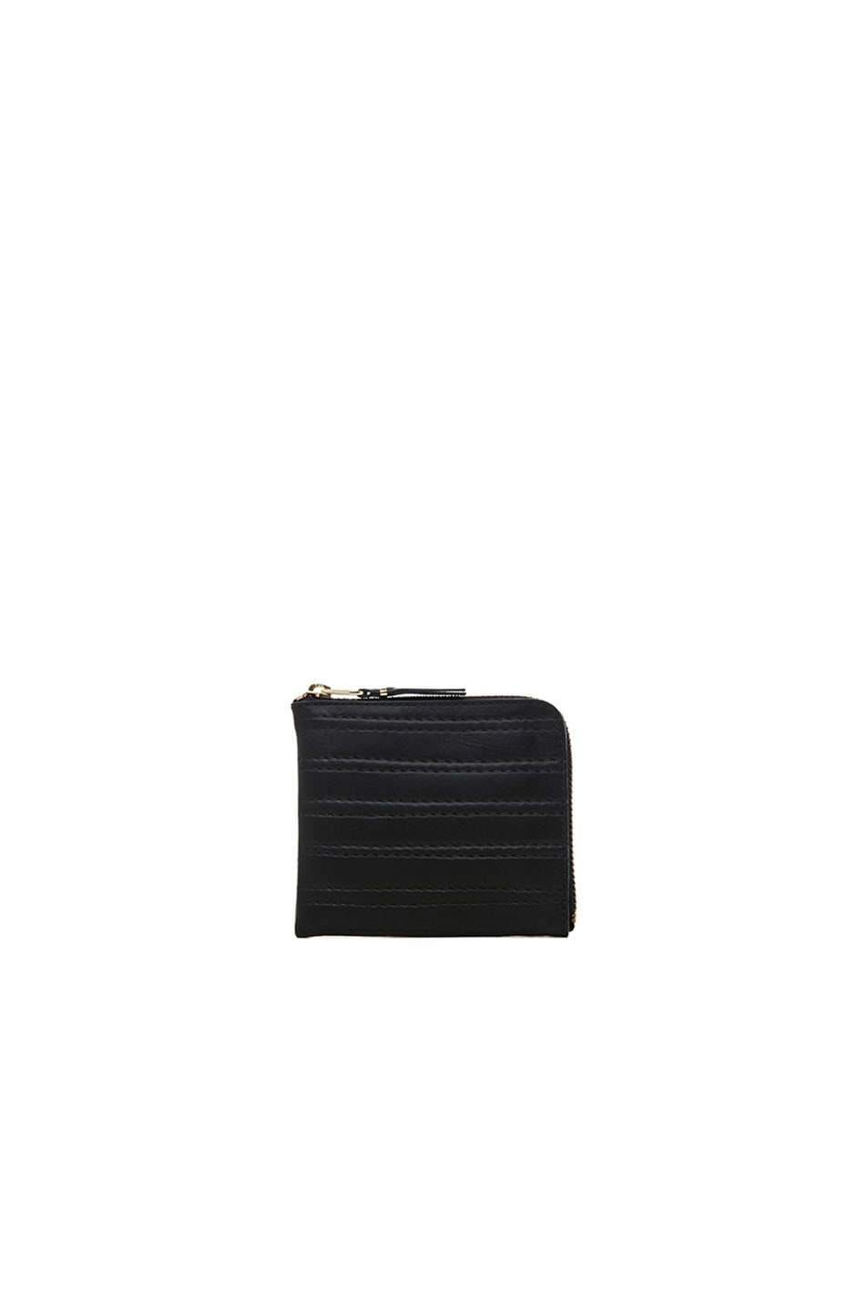 Image 1 of Comme Des Garcons Embossed Stitch Small Zip Wallet in Black