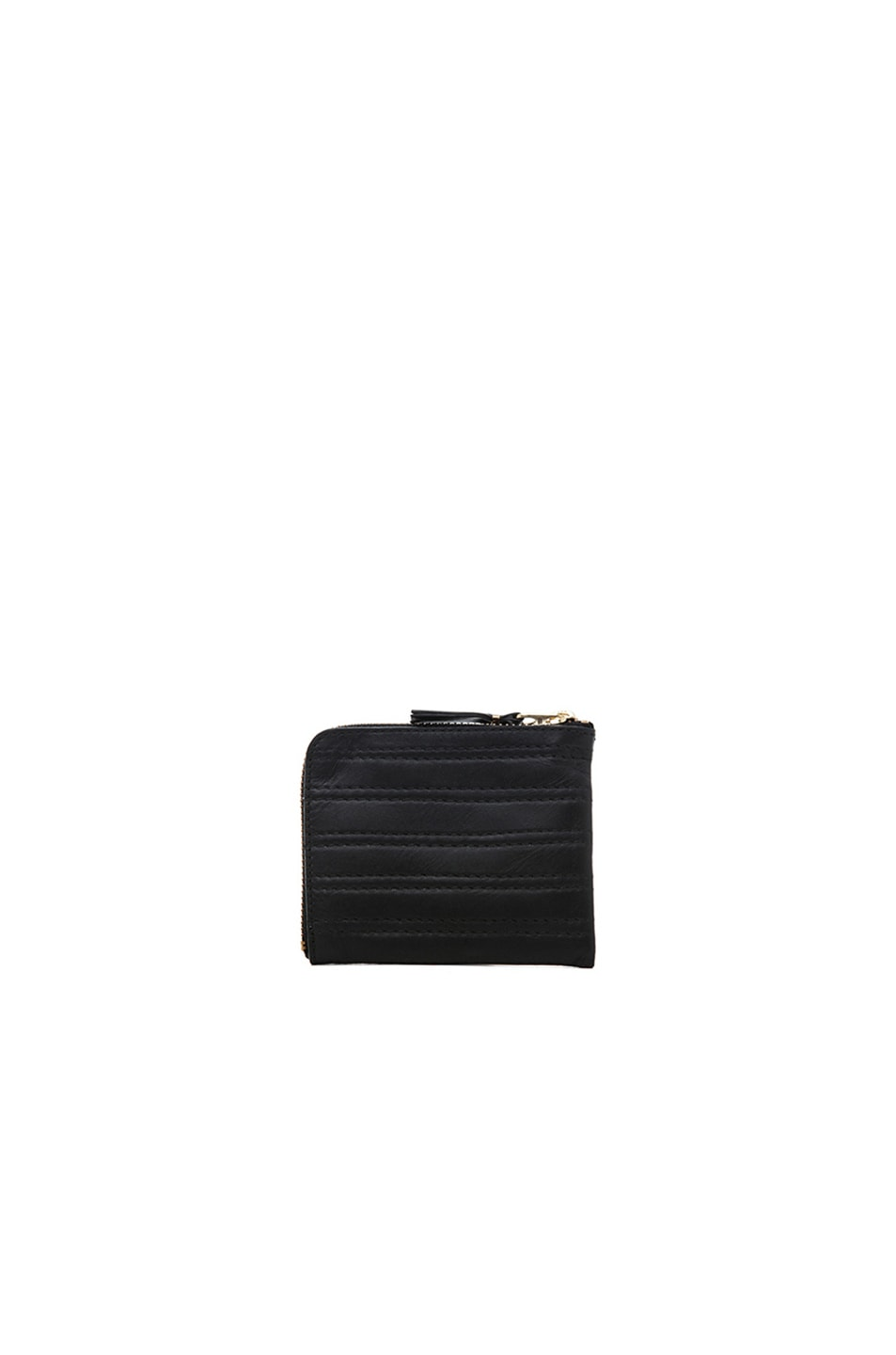 Image 2 of Comme Des Garcons Embossed Stitch Small Zip Wallet in Black