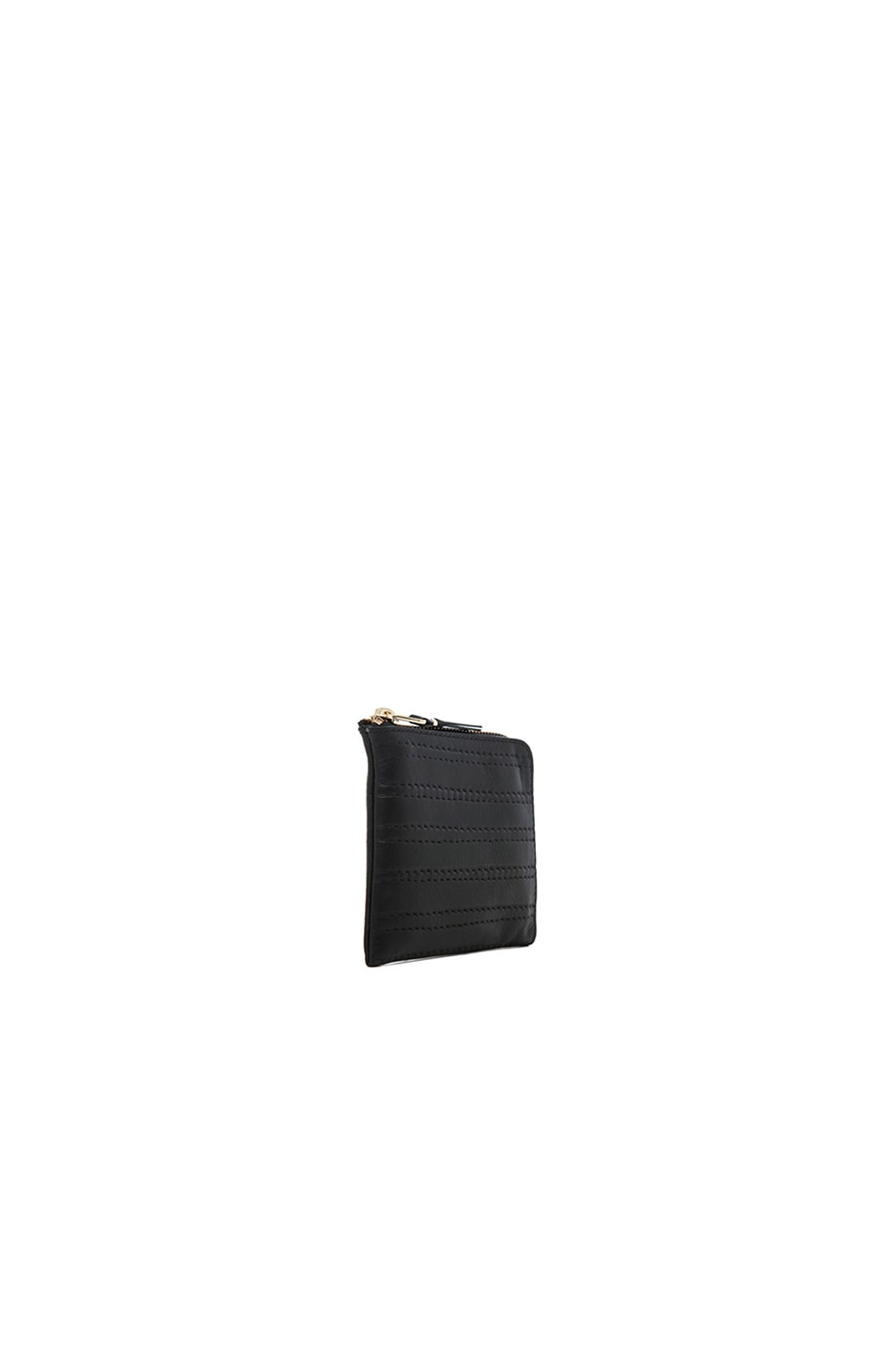 Image 3 of Comme Des Garcons Embossed Stitch Small Zip Wallet in Black