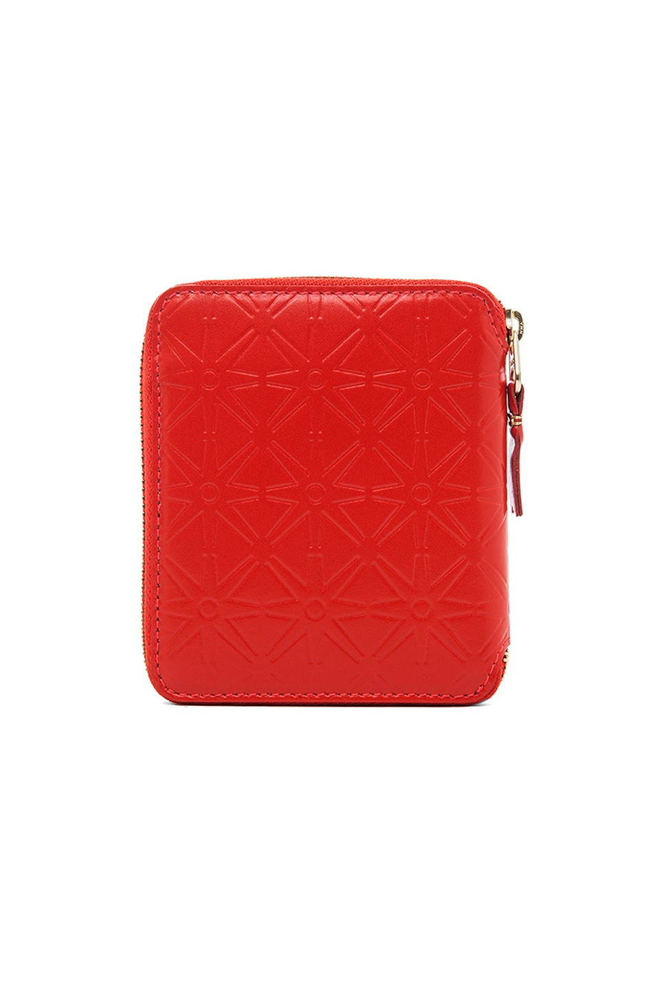 Image 2 of Comme Des Garcons Star Embossed Zip Fold Wallet in Orange