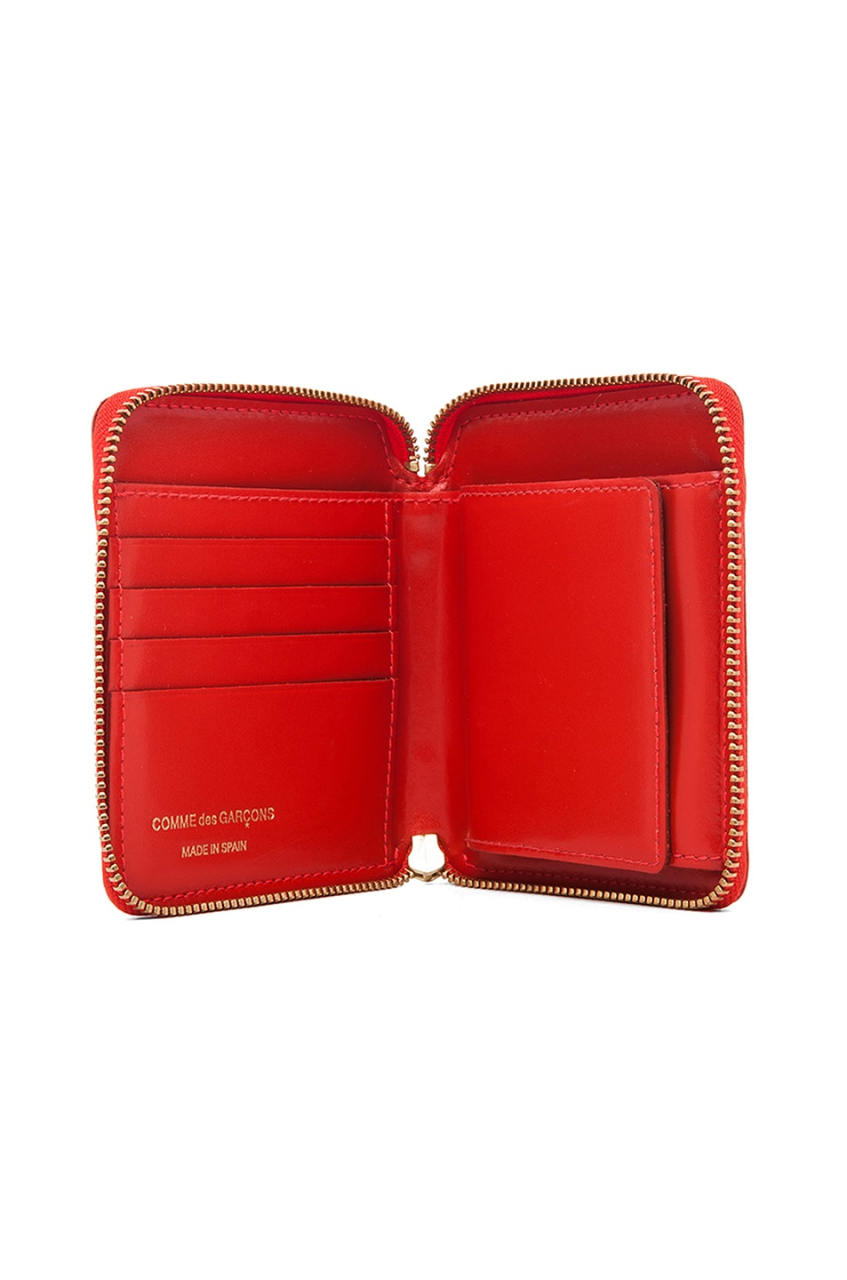Image 4 of Comme Des Garcons Star Embossed Zip Fold Wallet in Orange