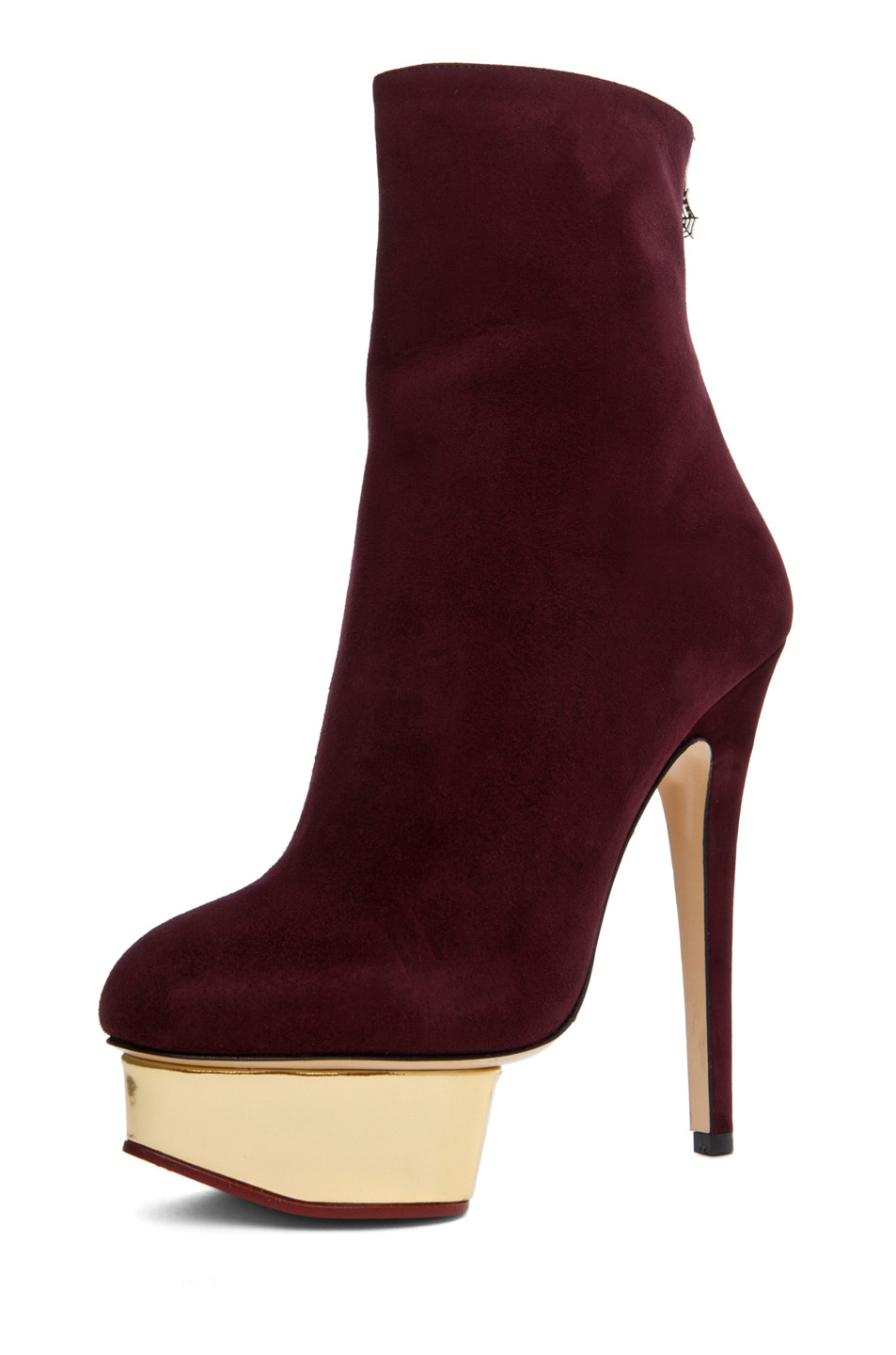 Image 2 of Charlotte Olympia Lucinda Ankle Boot in Aubergine
