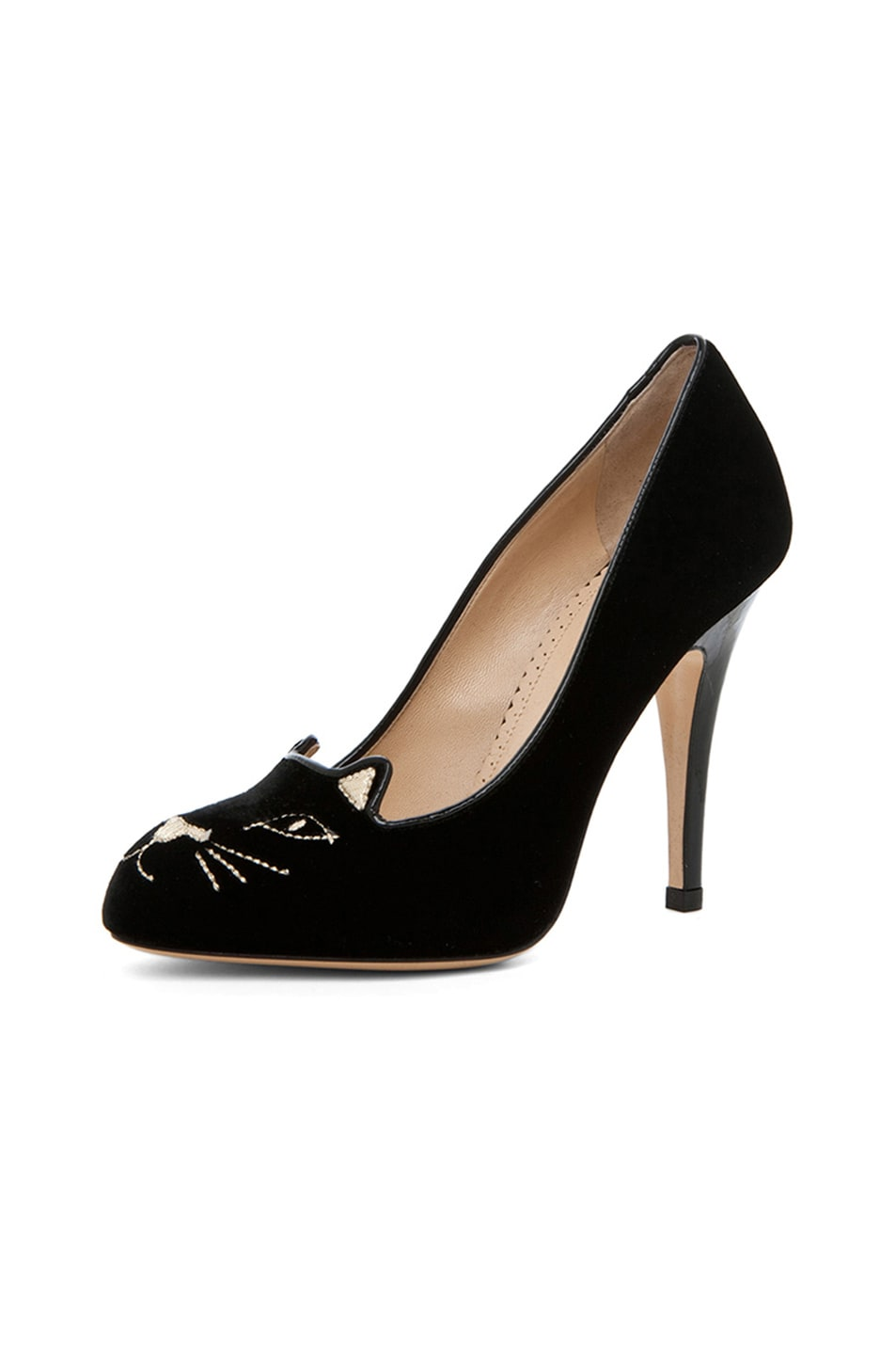 Image 2 of Charlotte Olympia Kitty Velvet Pumps in Black
