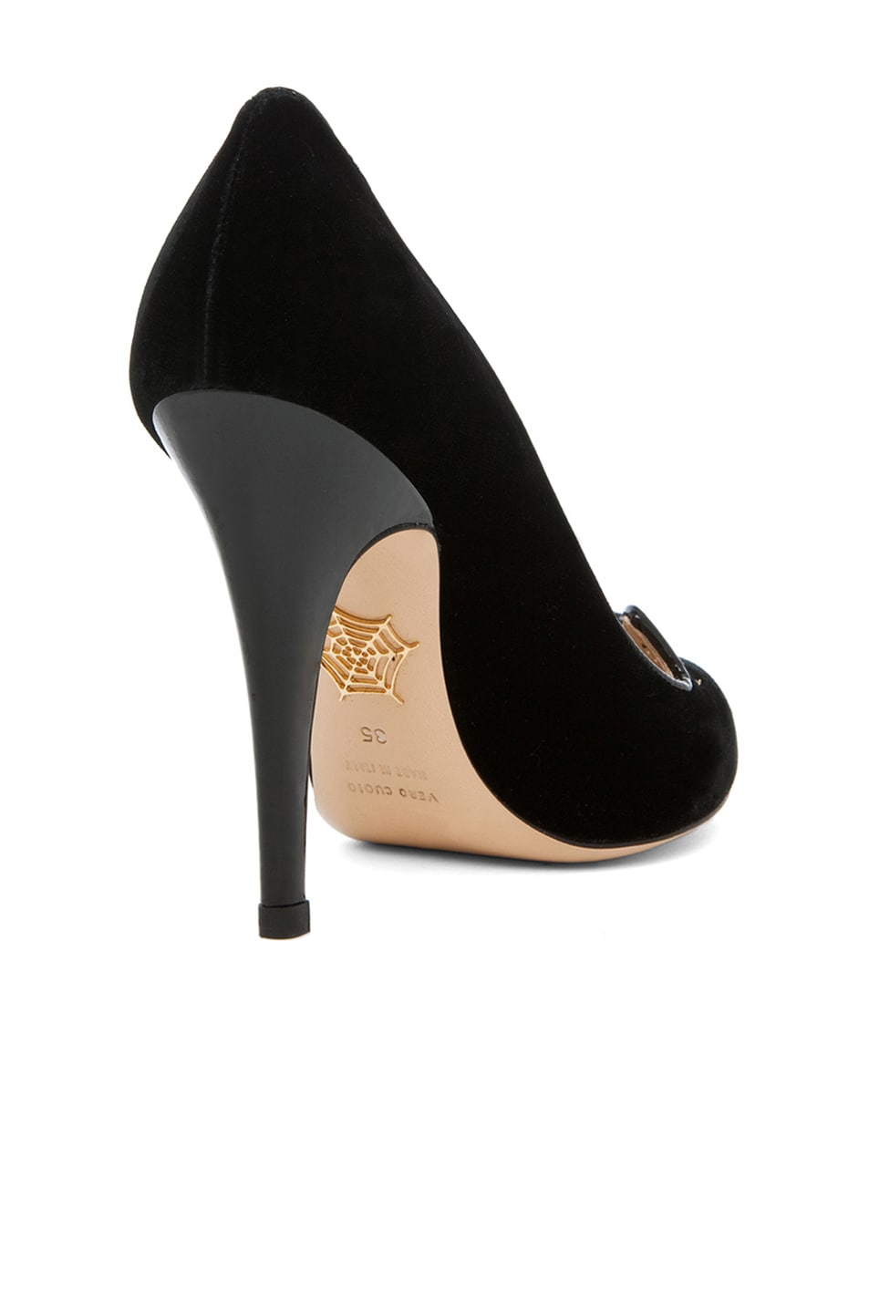 Image 3 of Charlotte Olympia Kitty Velvet Pumps in Black