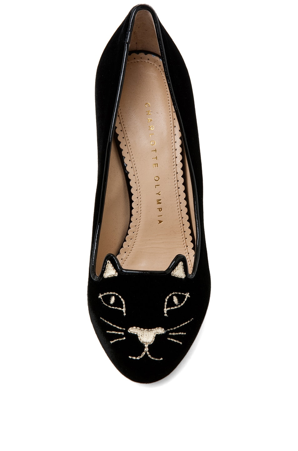 Image 4 of Charlotte Olympia Kitty Velvet Pumps in Black