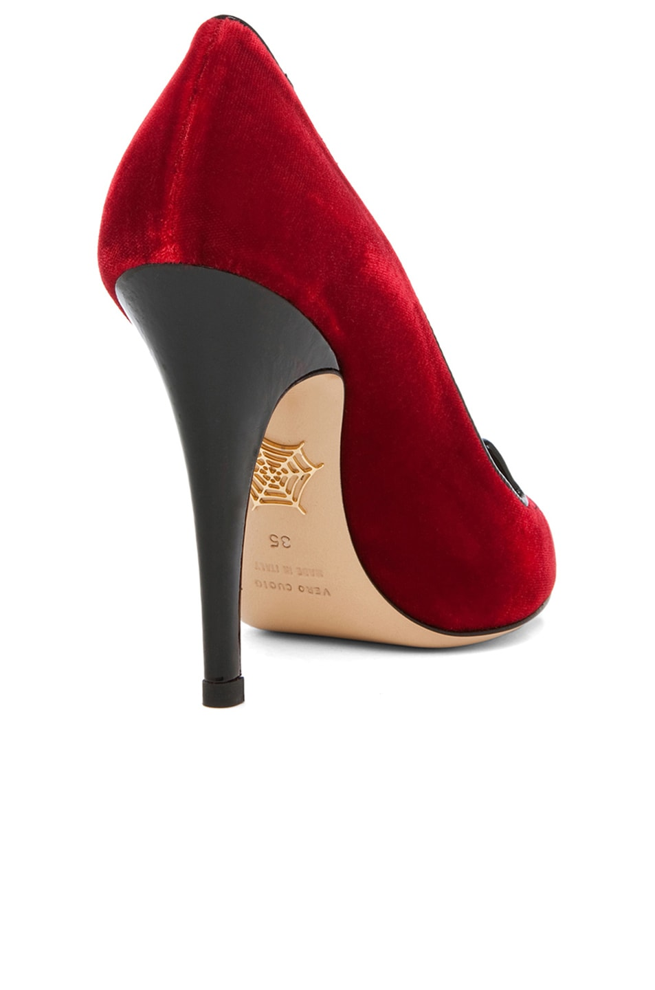 Image 3 of Charlotte Olympia Kitty Velvet Pumps in Red