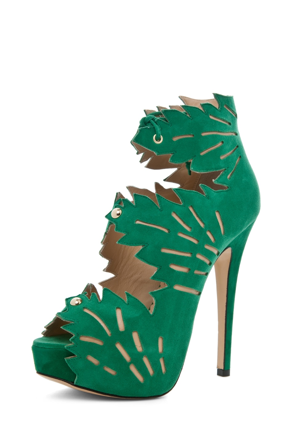 Image 2 of Charlotte Olympia Eve Suede Ankle Booties in Green