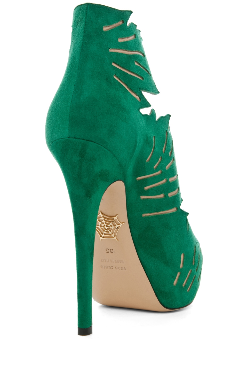Image 3 of Charlotte Olympia Eve Suede Ankle Booties in Green