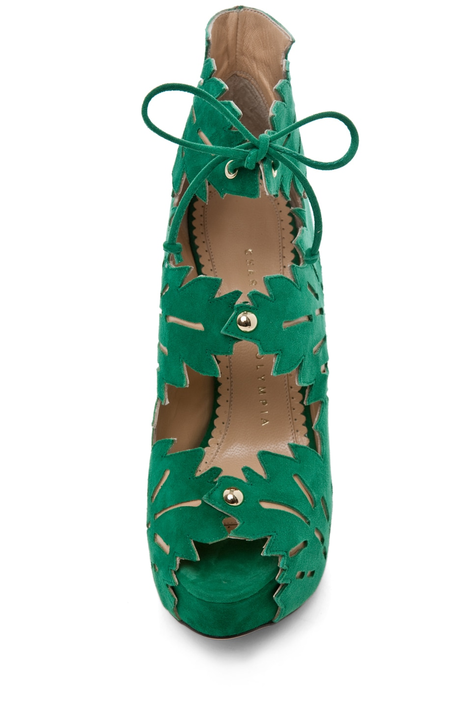 Image 4 of Charlotte Olympia Eve Suede Ankle Booties in Green