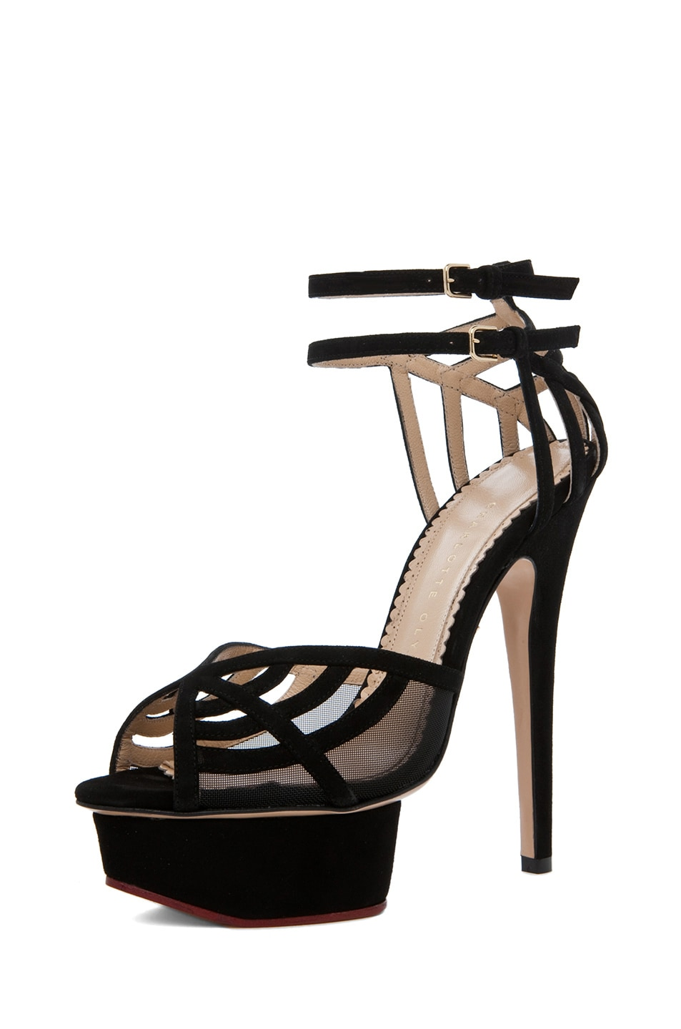 Image 2 of Charlotte Olympia Octavia Suede Heels in Black