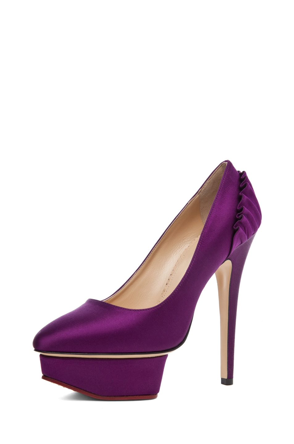Image 2 of Charlotte Olympia Paloma Signature Court Island Satin Pumps in Purple