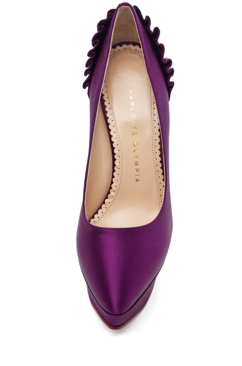 Image 4 of Charlotte Olympia Paloma Signature Court Island Satin Pumps in Purple