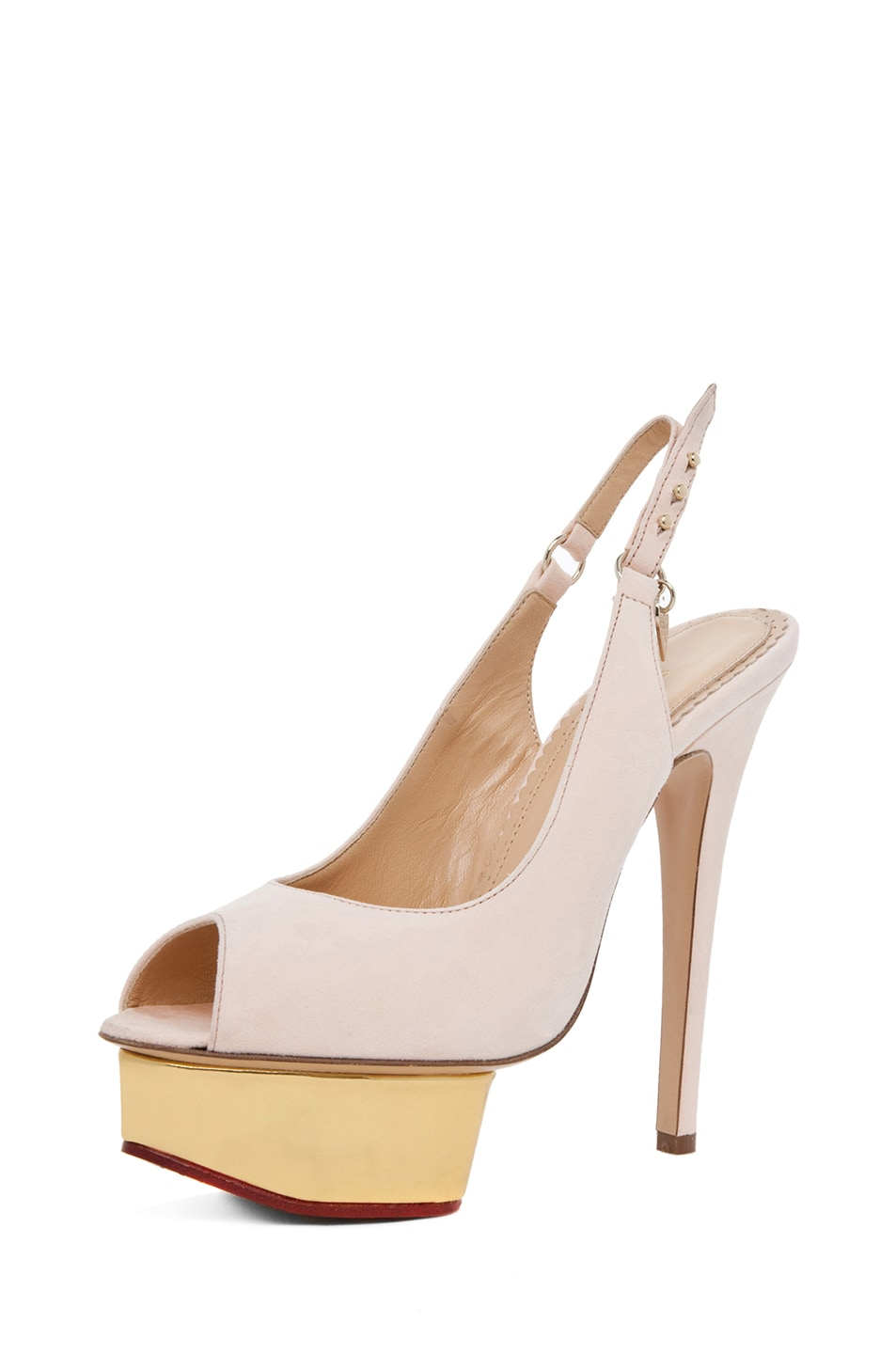 Image 2 of Charlotte Olympia Bon Bon Suede Sling Back Heels in Cipria