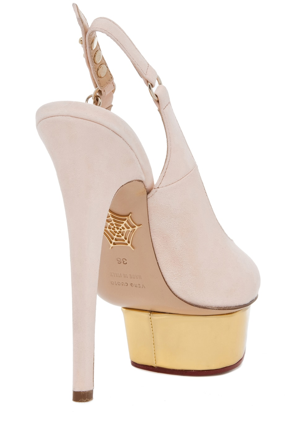 Image 3 of Charlotte Olympia Bon Bon Suede Sling Back Heels in Cipria