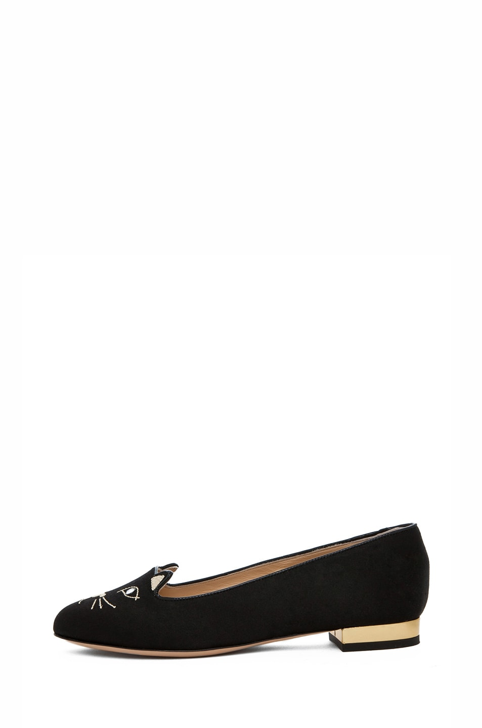 Image 1 of Charlotte Olympia Kitty Satin Flats in Black & Gold