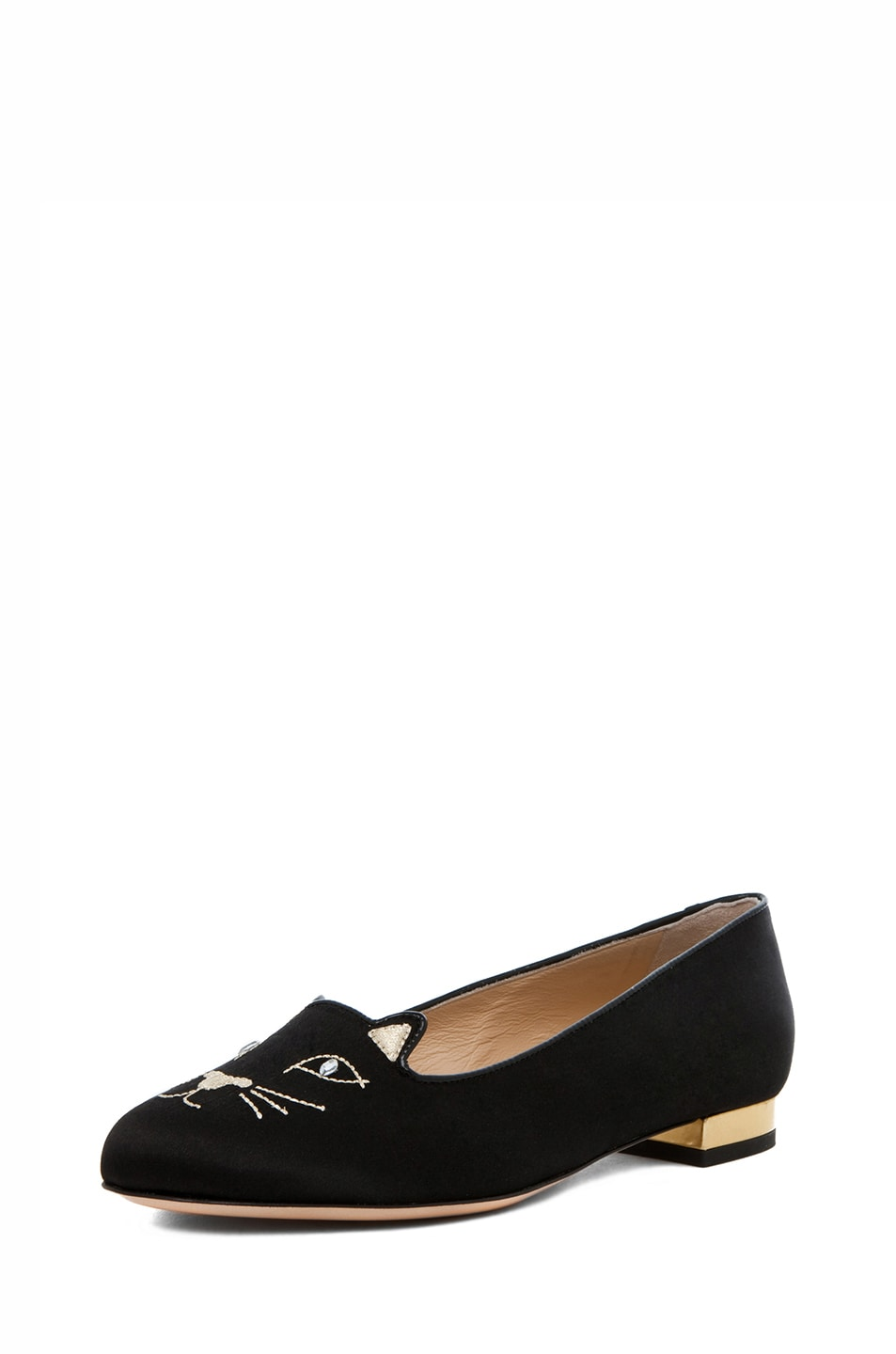 Image 2 of Charlotte Olympia Kitty Satin Flats in Black & Gold