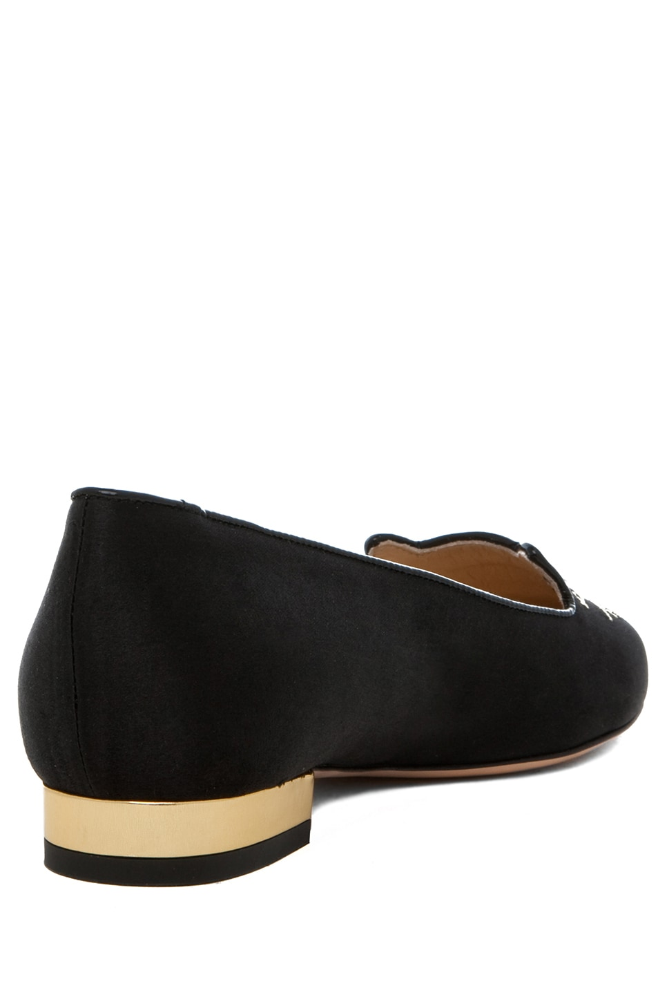 Image 3 of Charlotte Olympia Kitty Satin Flats in Black & Gold