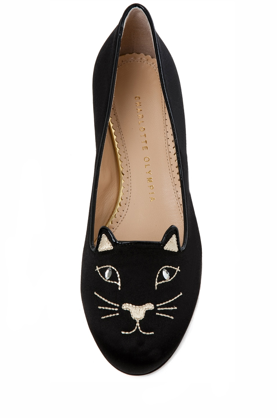 Image 4 of Charlotte Olympia Kitty Satin Flats in Black & Gold