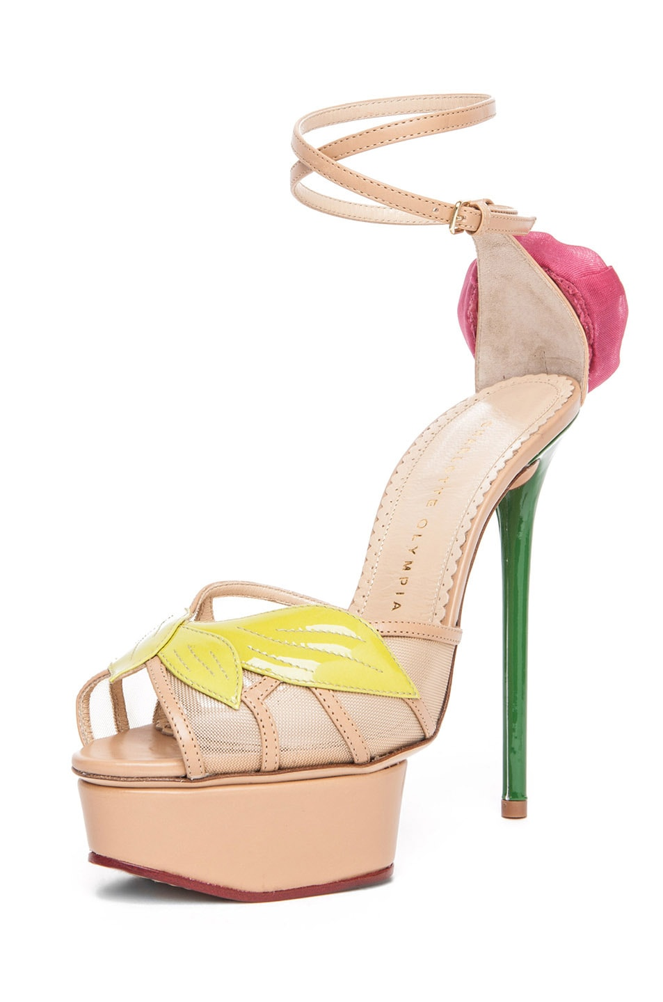Image 2 of Charlotte Olympia Rose Leather Sandal with Rose and Leaf in Chartreuse & Nude