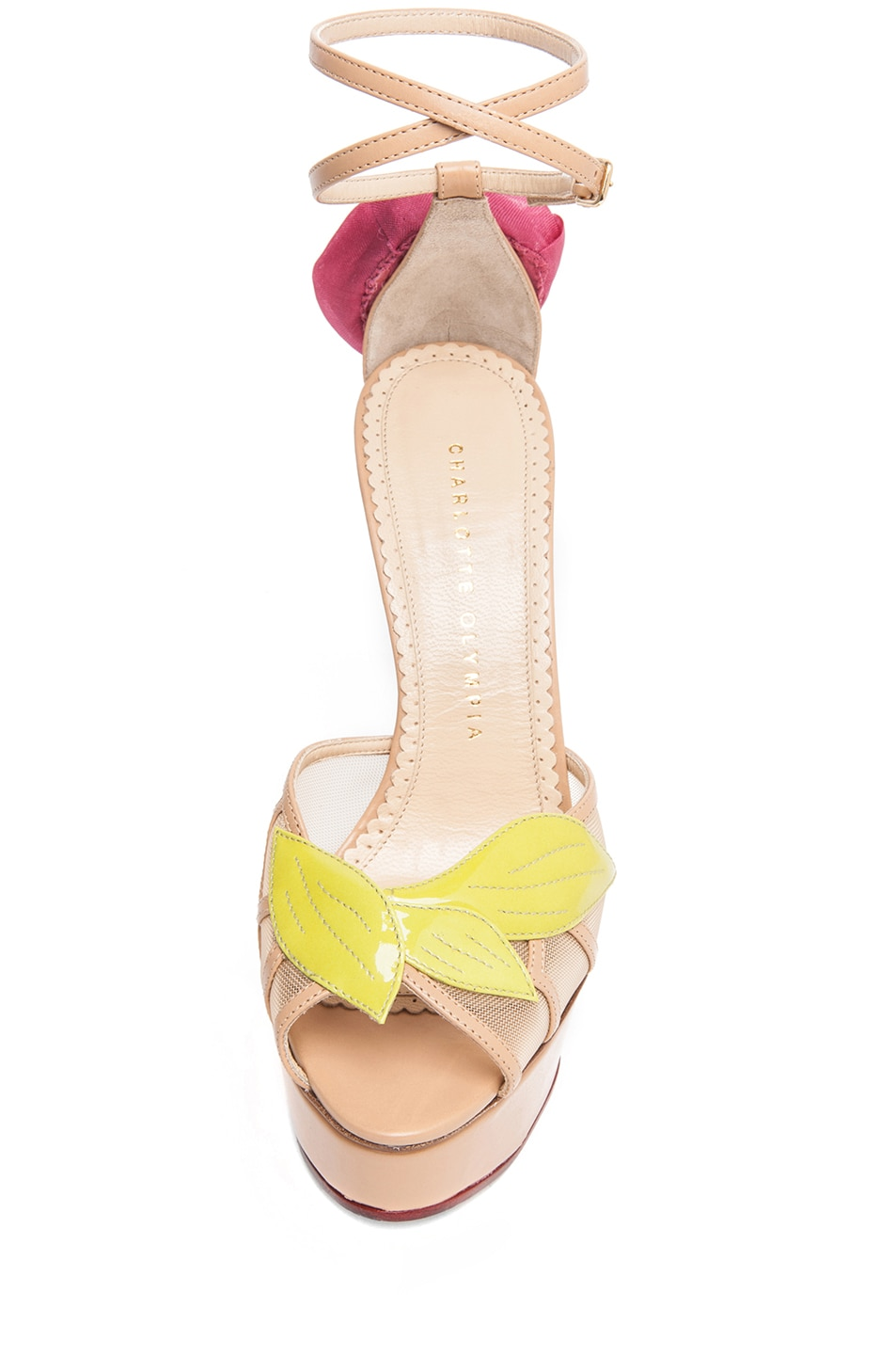 Image 4 of Charlotte Olympia Rose Leather Sandal with Rose and Leaf in Chartreuse & Nude