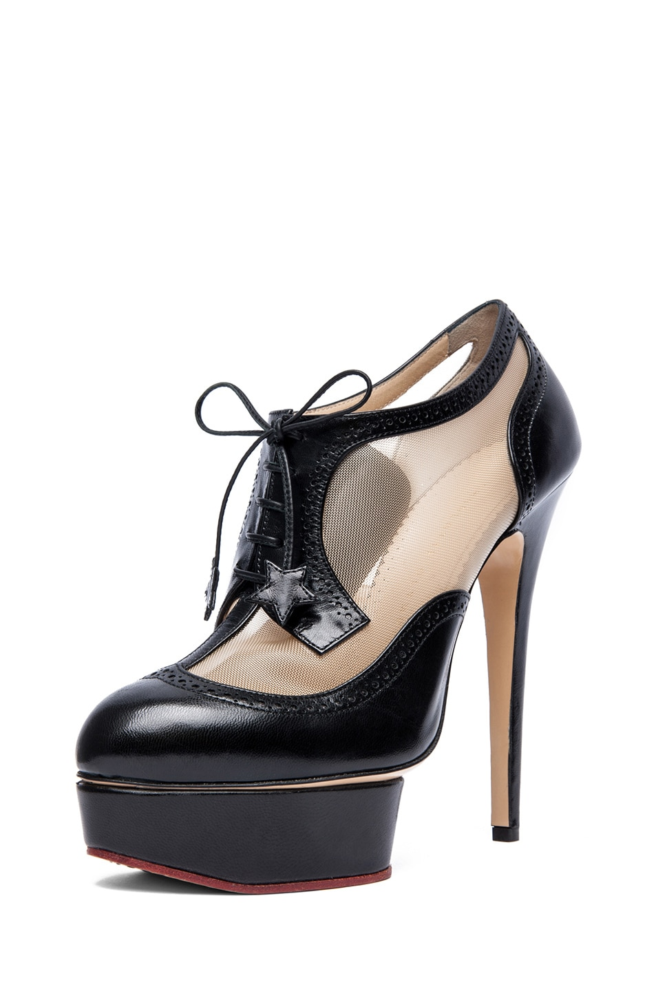 Image 2 of Charlotte Olympia Astaire Broque Leather Booties in Black
