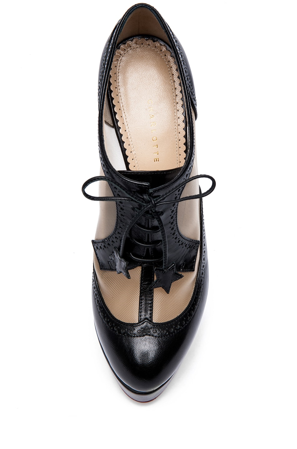 Image 4 of Charlotte Olympia Astaire Broque Leather Booties in Black