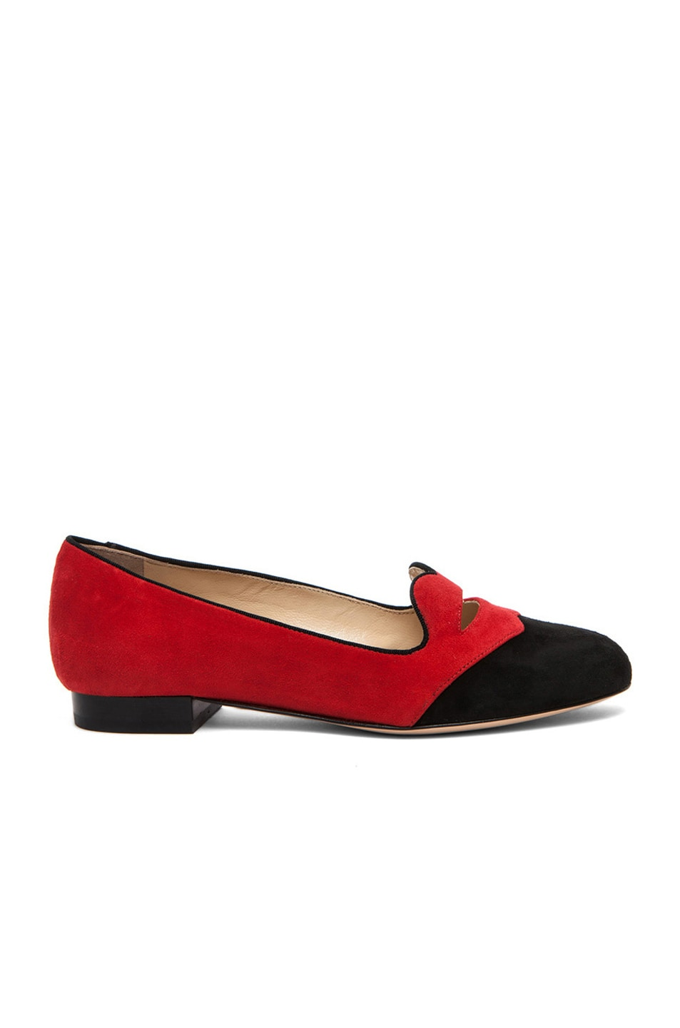 Image 2 of Charlotte Olympia Bisoux Suede Flats in Red & Black