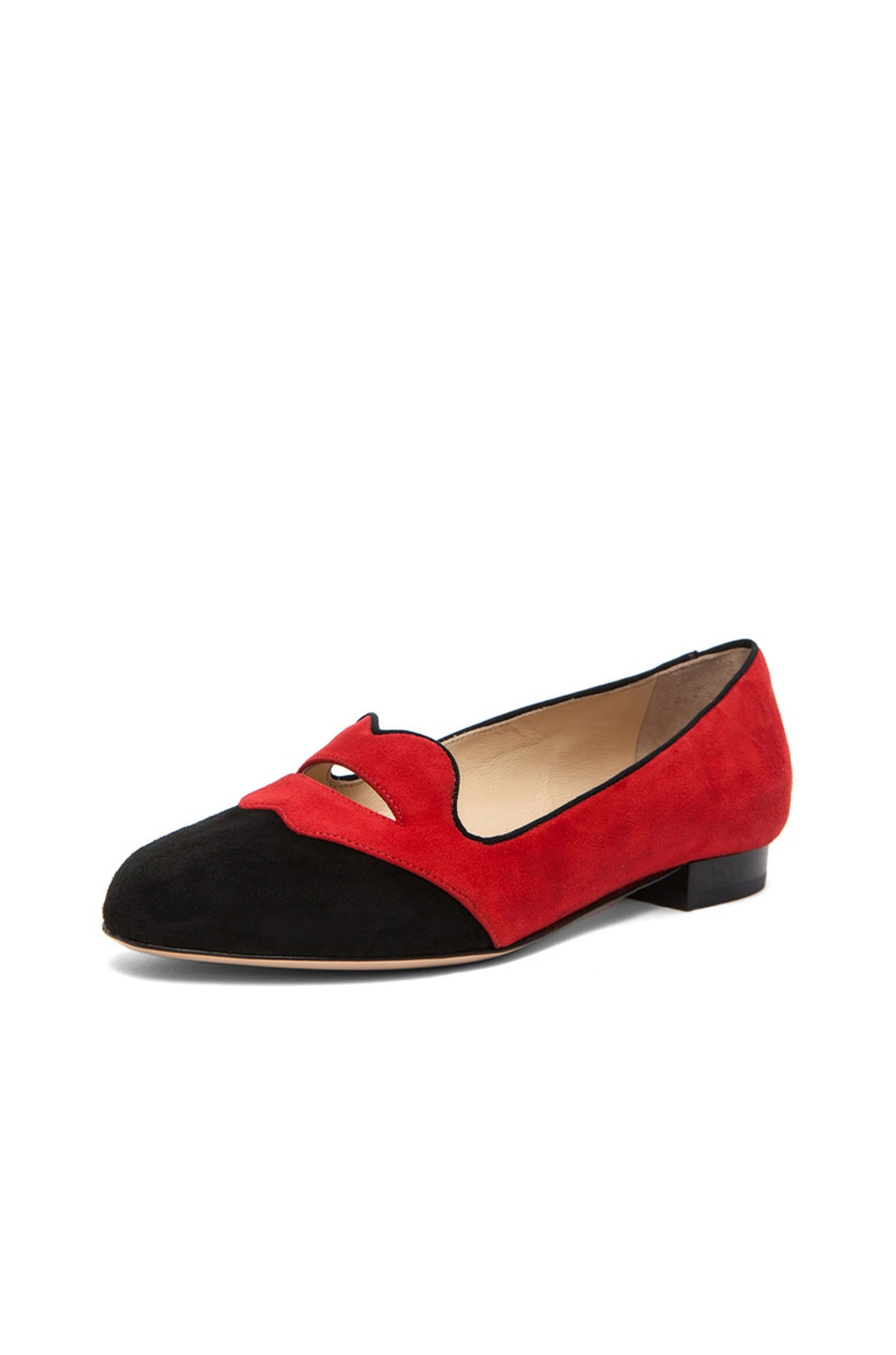 Image 3 of Charlotte Olympia Bisoux Suede Flats in Red & Black