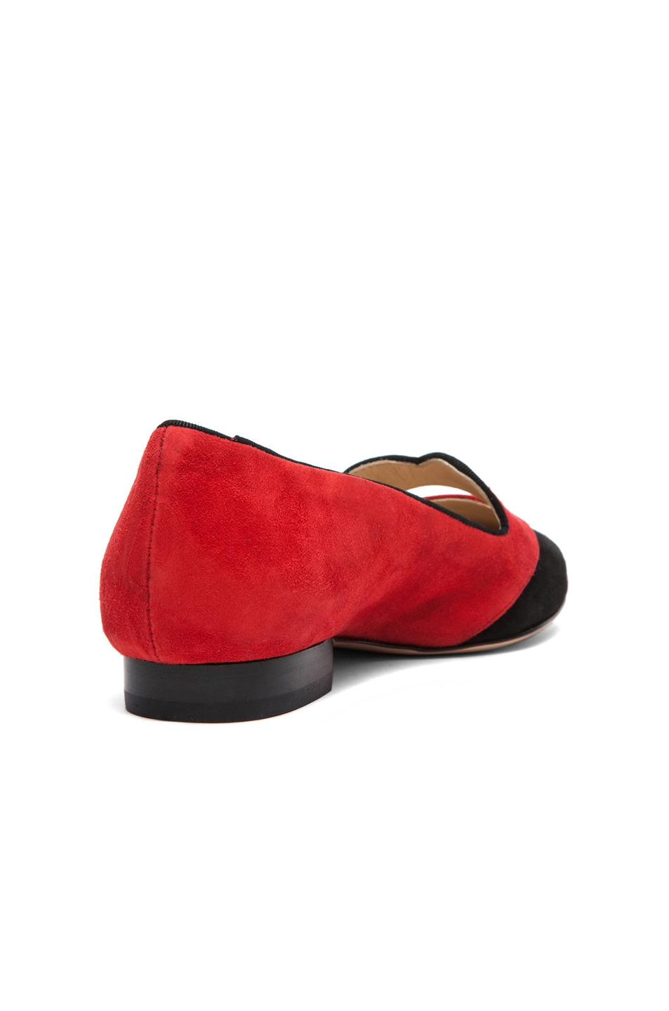 Image 4 of Charlotte Olympia Bisoux Suede Flats in Red & Black