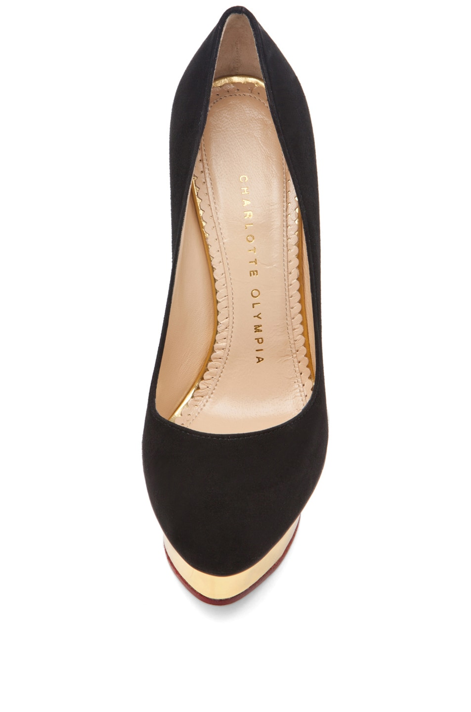 Image 4 of Charlotte Olympia Dolly Signature Court Island Suede Pumps in Black