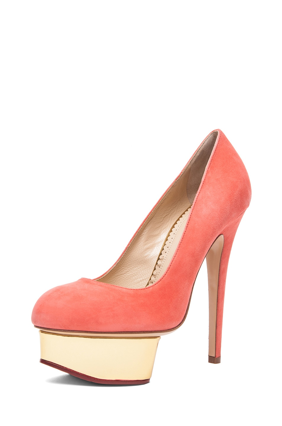 Image 2 of Charlotte Olympia Dolly Puttin On The Glitz Suede Pump in Coral