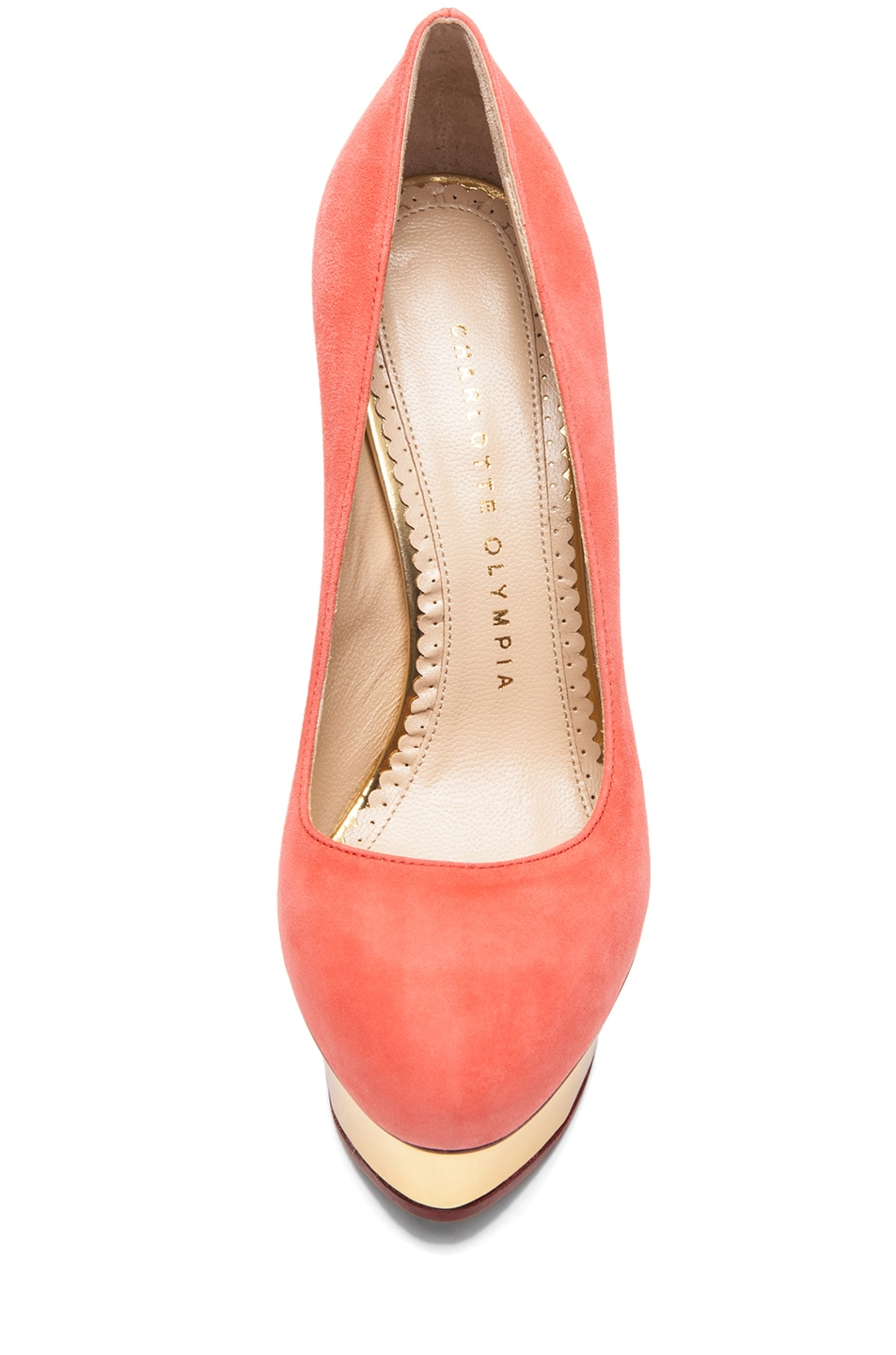 Image 4 of Charlotte Olympia Dolly Puttin On The Glitz Suede Pump in Coral
