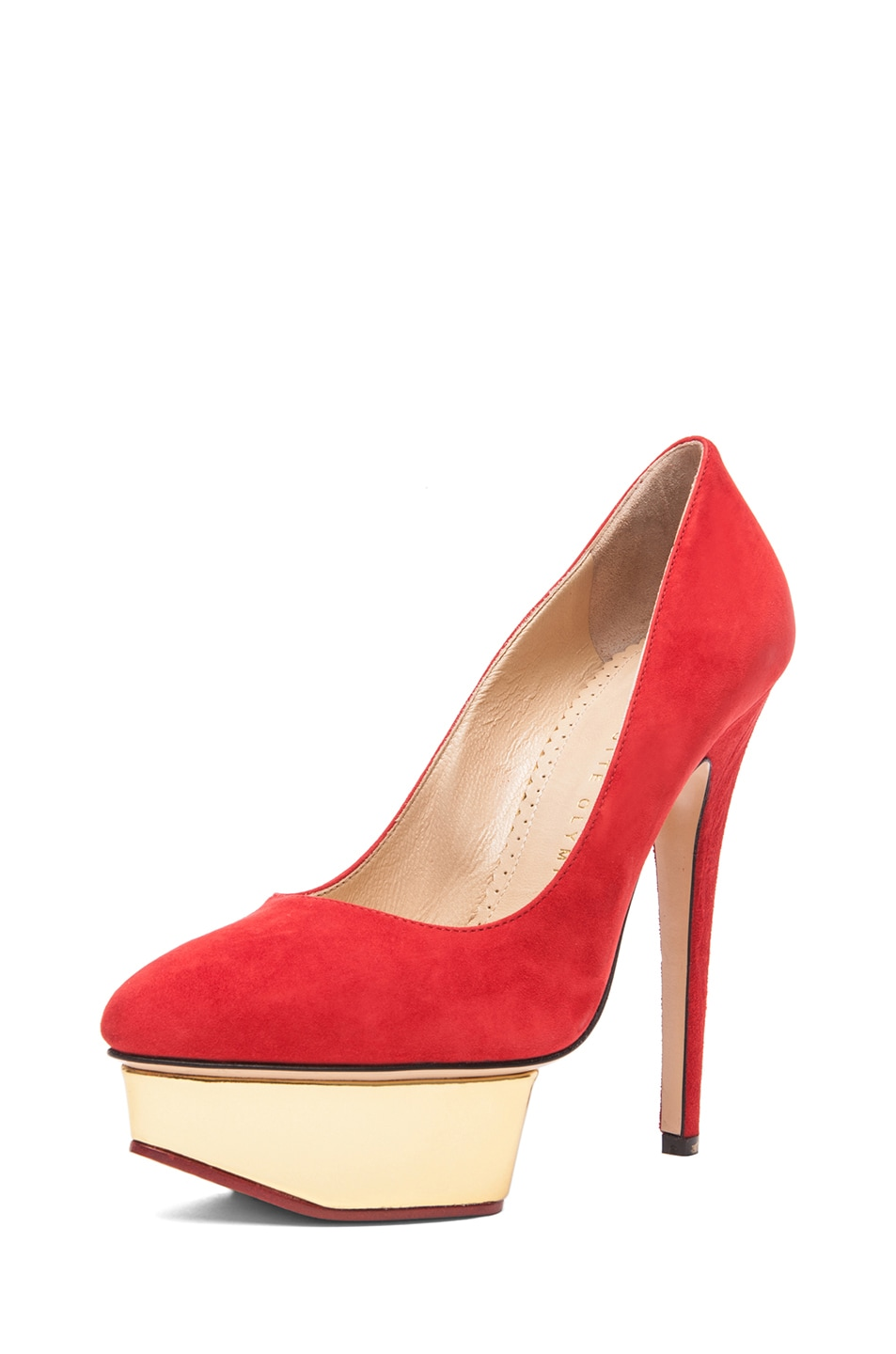 Image 2 of Charlotte Olympia Cindy Suede Pumps in Red