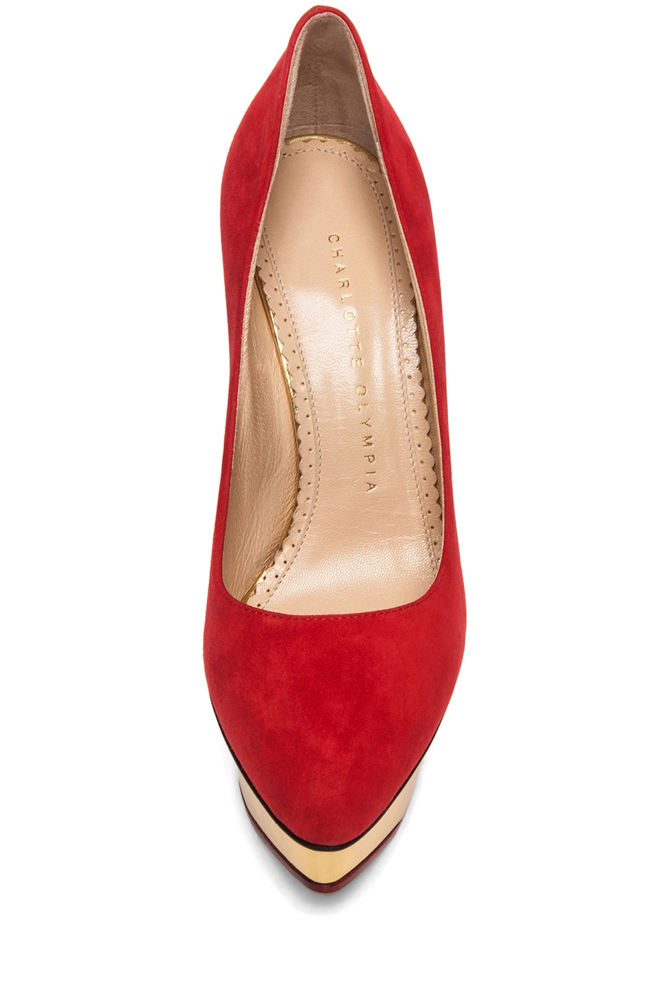 Image 4 of Charlotte Olympia Cindy Suede Pumps in Red