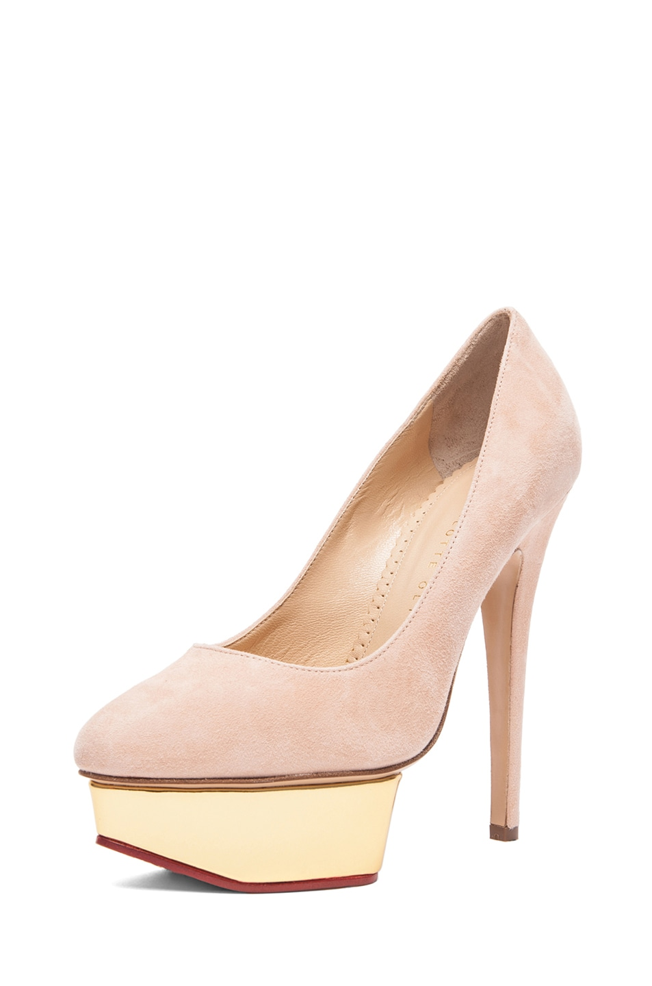 Image 2 of Charlotte Olympia Cindy Suede Pumps in Blush