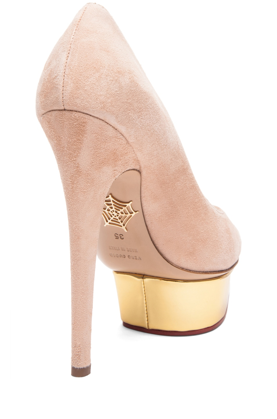 Image 3 of Charlotte Olympia Cindy Suede Pumps in Blush