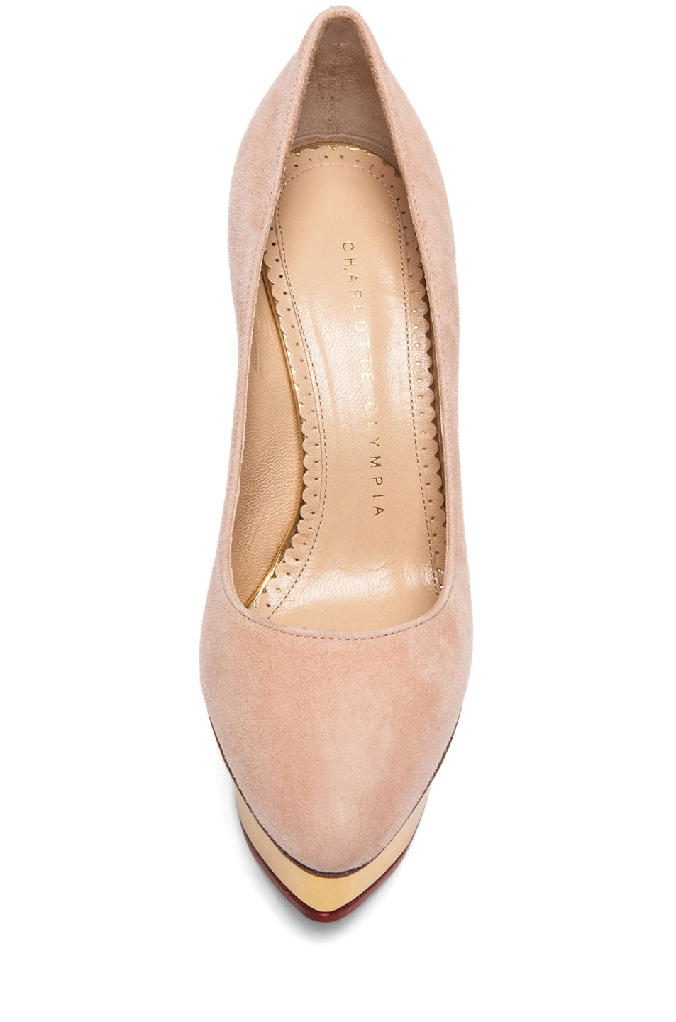 Image 4 of Charlotte Olympia Cindy Suede Pumps in Blush