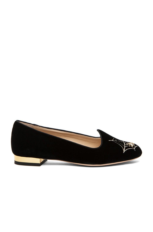 Image 2 of Charlotte Olympia Charlotte's Web Velvet Flats in Black & Gold