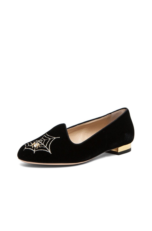 Image 3 of Charlotte Olympia Charlotte's Web Velvet Flats in Black & Gold