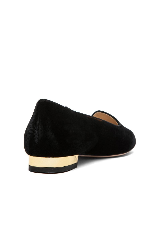 Image 4 of Charlotte Olympia Charlotte's Web Velvet Flats in Black & Gold