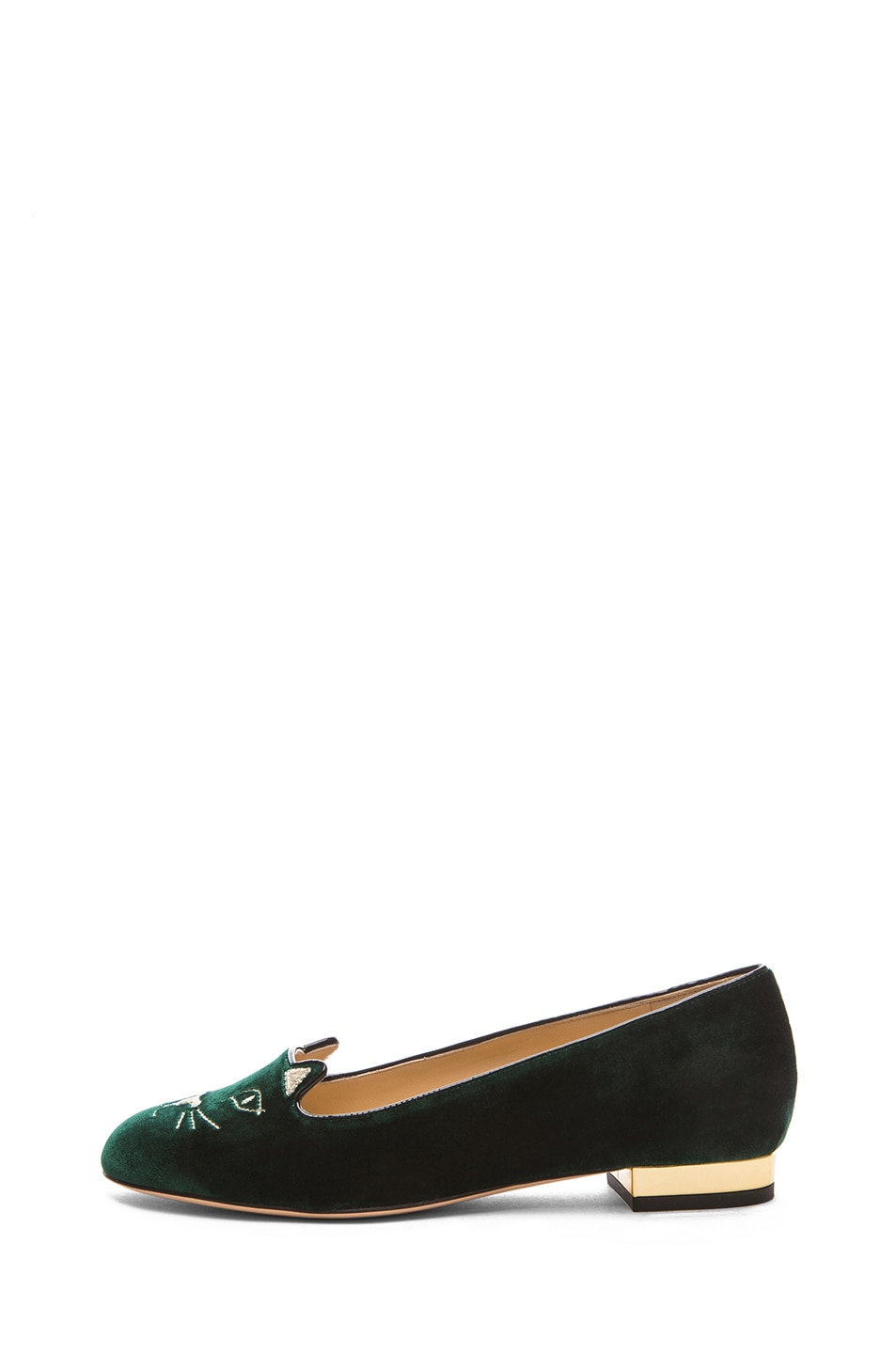 Image 1 of Charlotte Olympia Kitty Flats Suede in Green & Gold