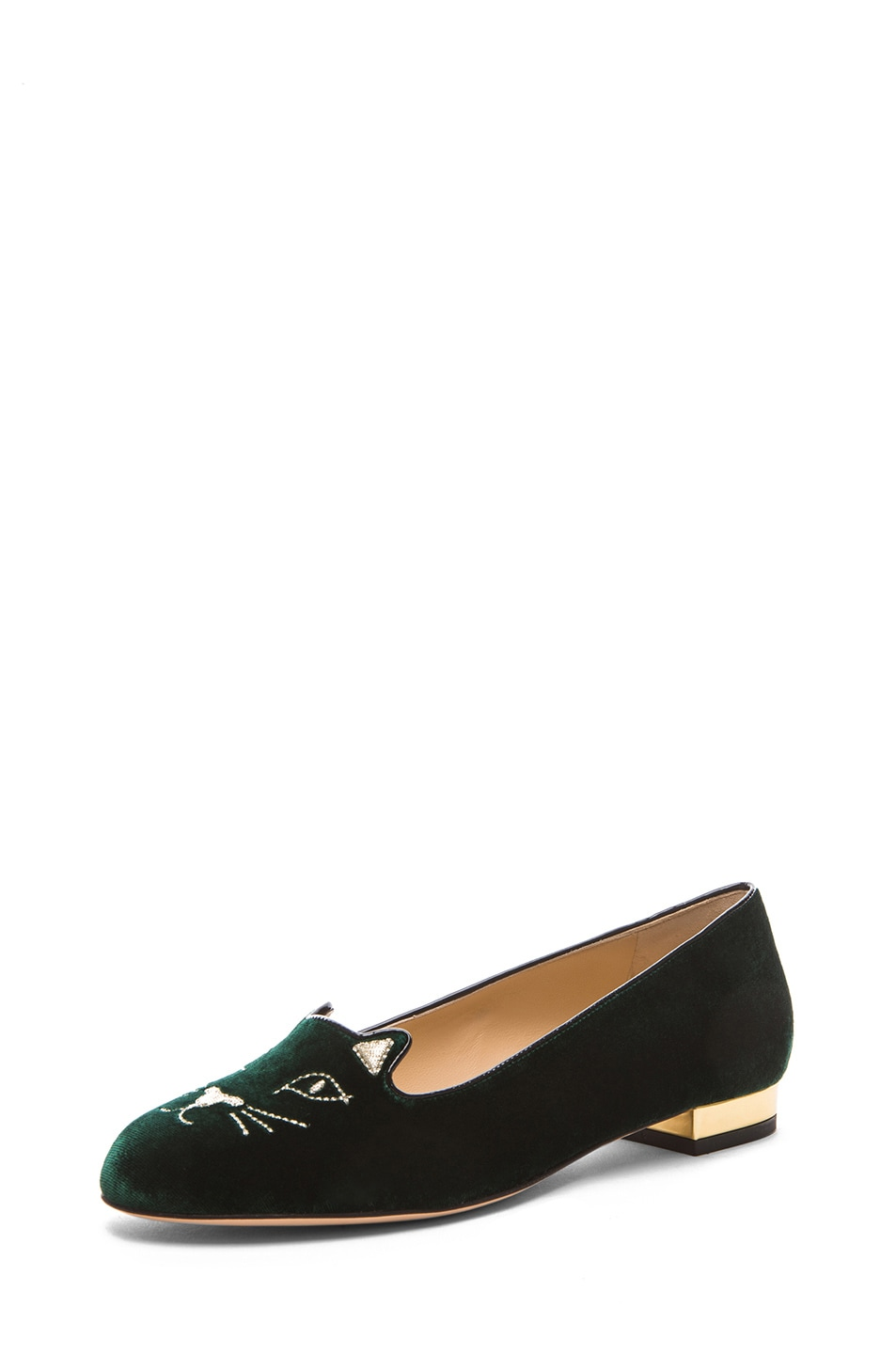 Image 2 of Charlotte Olympia Kitty Flats Suede in Green & Gold