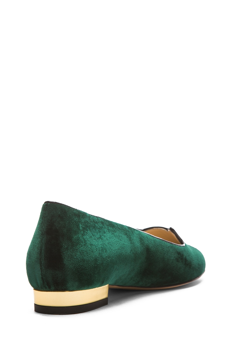 Image 3 of Charlotte Olympia Kitty Flats Suede in Green & Gold