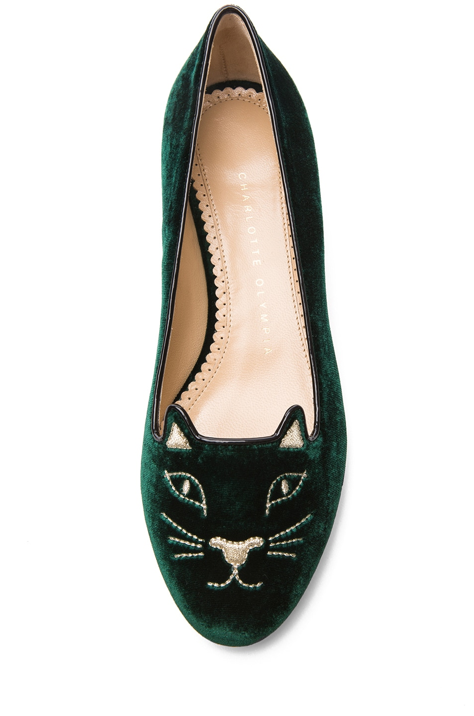 Image 4 of Charlotte Olympia Kitty Flats Suede in Green & Gold