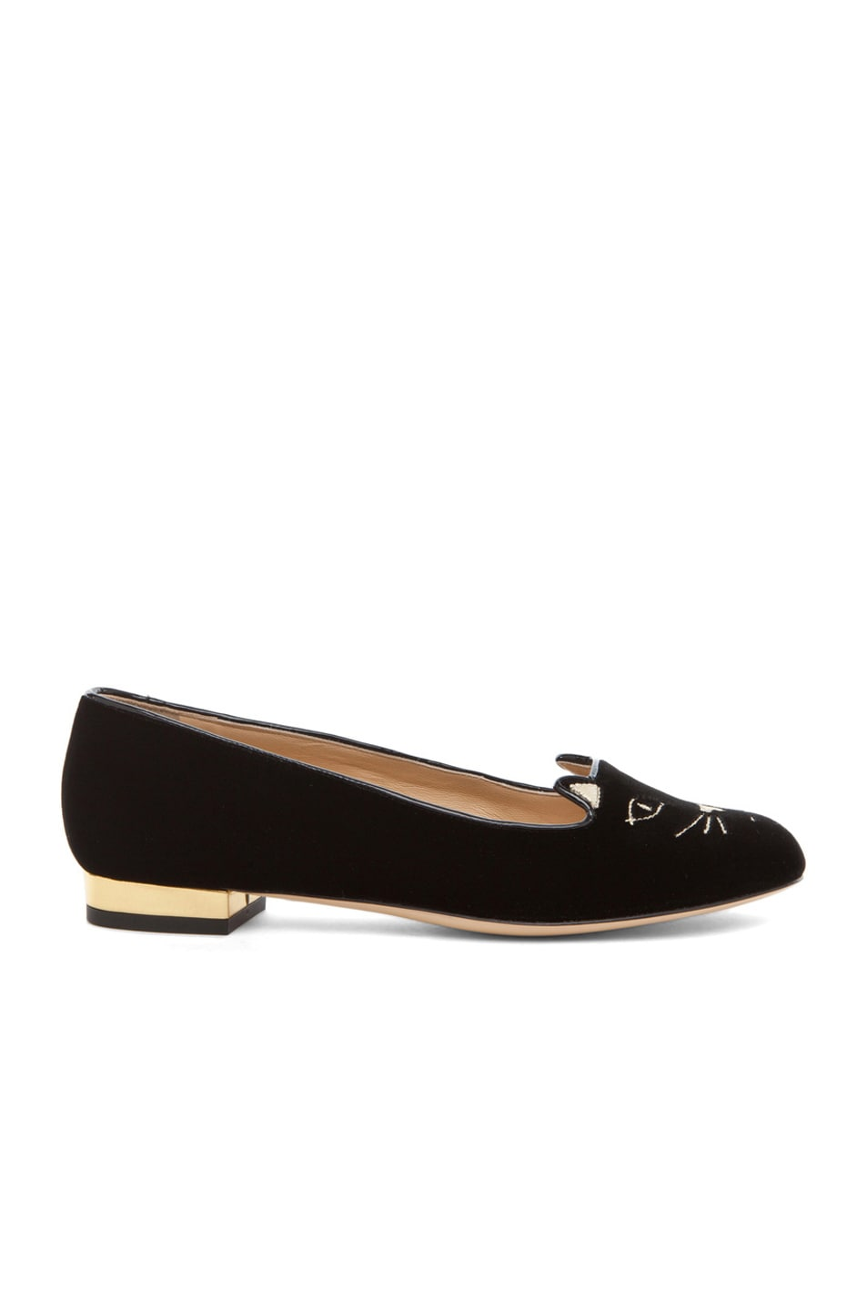 Image 1 of Charlotte Olympia Kitty Velvet Flats in Black