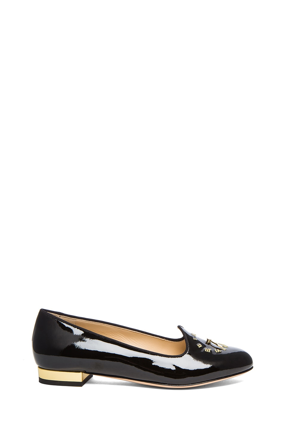 Image 1 of Charlotte Olympia Fashionably Late Patent Leather Flats in Black